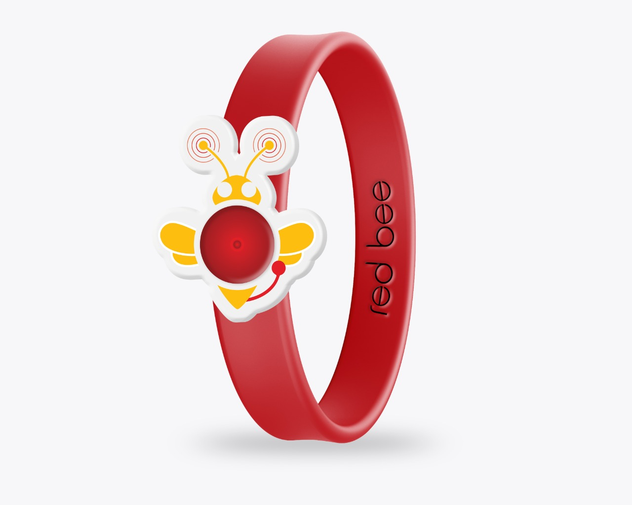 The first prototype version of The Red Bee anti-bullying wristband