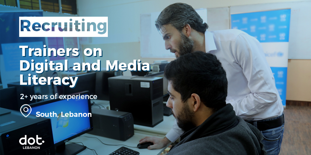 hiring trainers on digital and media literacy in the South of Lebanon